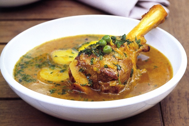 Lamb shanks in spiced potato and pea broth