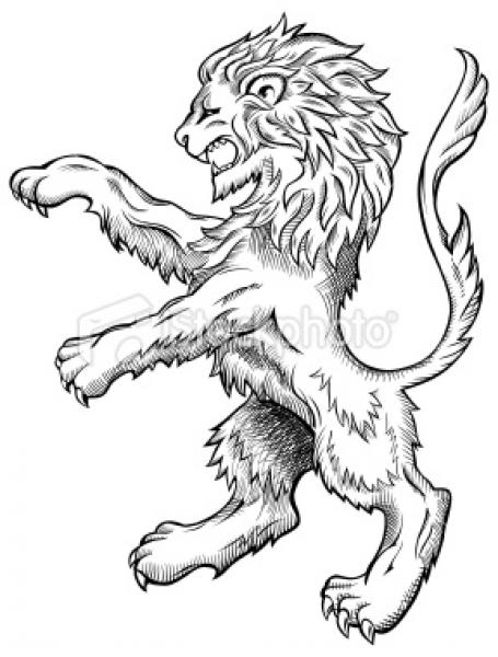 Free coloring pages of medieval lion crest