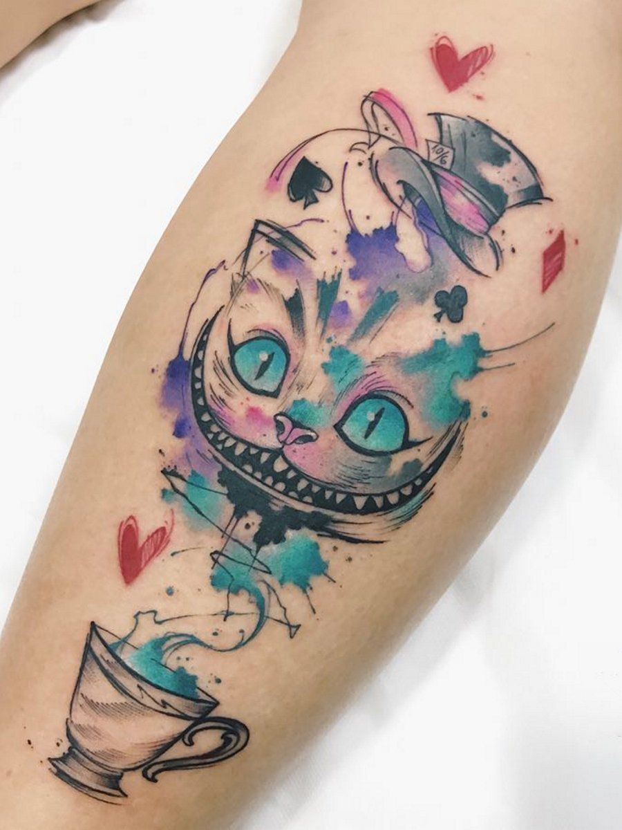 Alice In Wonderland Cat Tattoo : alice, wonderland, tattoo, Cheshire, Tattoo, Designs, (2020), Simple, Small, Meaningful, Ideas