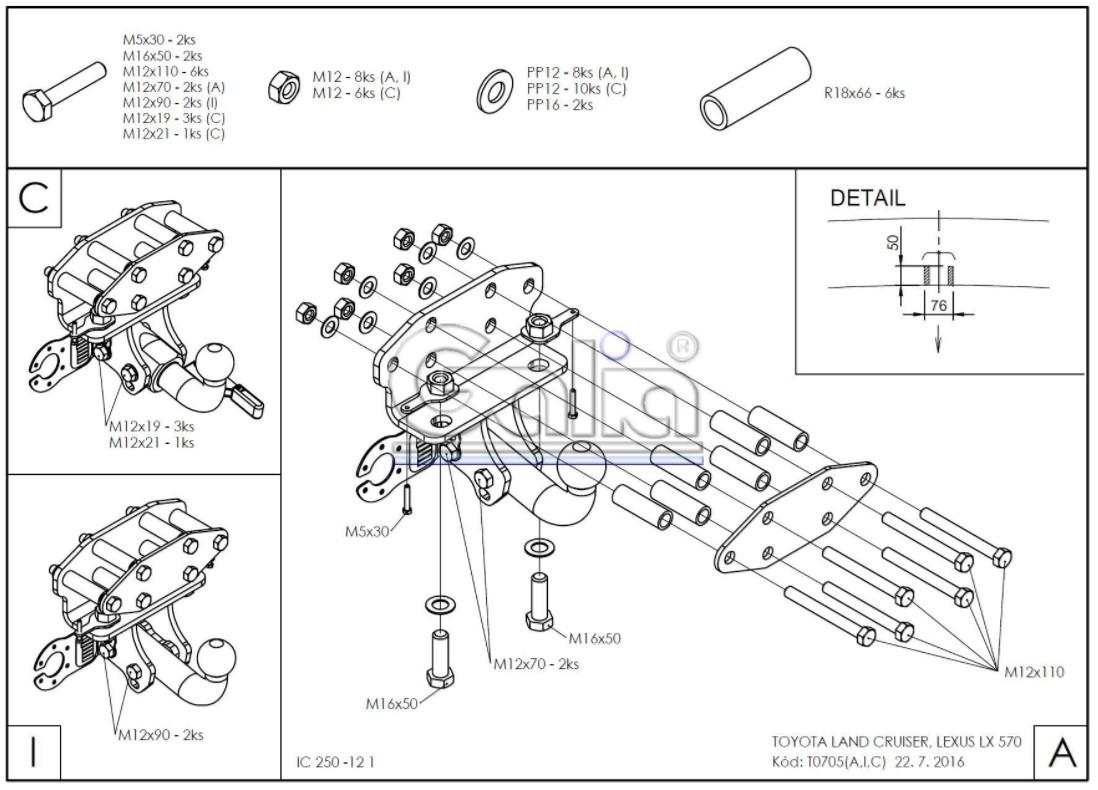 Tažné zařízení Lexus LX 570 / Toyota Land Cruiser J20, od