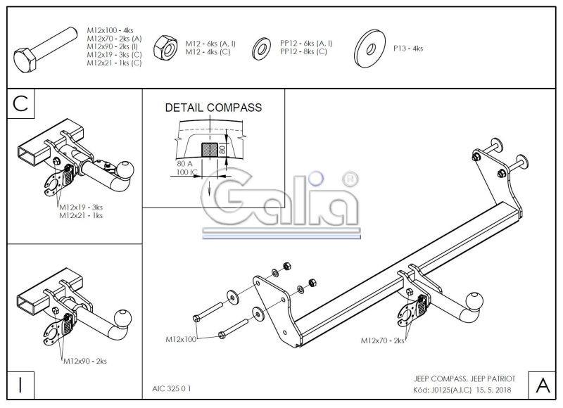 Tažné zařízení Jeep Compass / Patriot 2006-2011 , bajonet