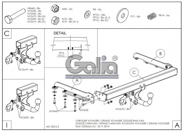 Tažné zařízení Dodge Caravan 2000-2007 , bajonet, Galia