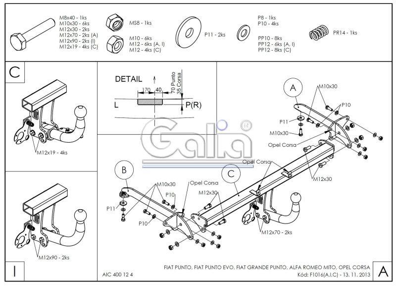 Tažné zařízení Fiat Grande Punto (Evo) / Opel Corsa D
