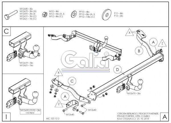 Tažné zařízení Opel Combo 2018- (E) , bajonet, Galia