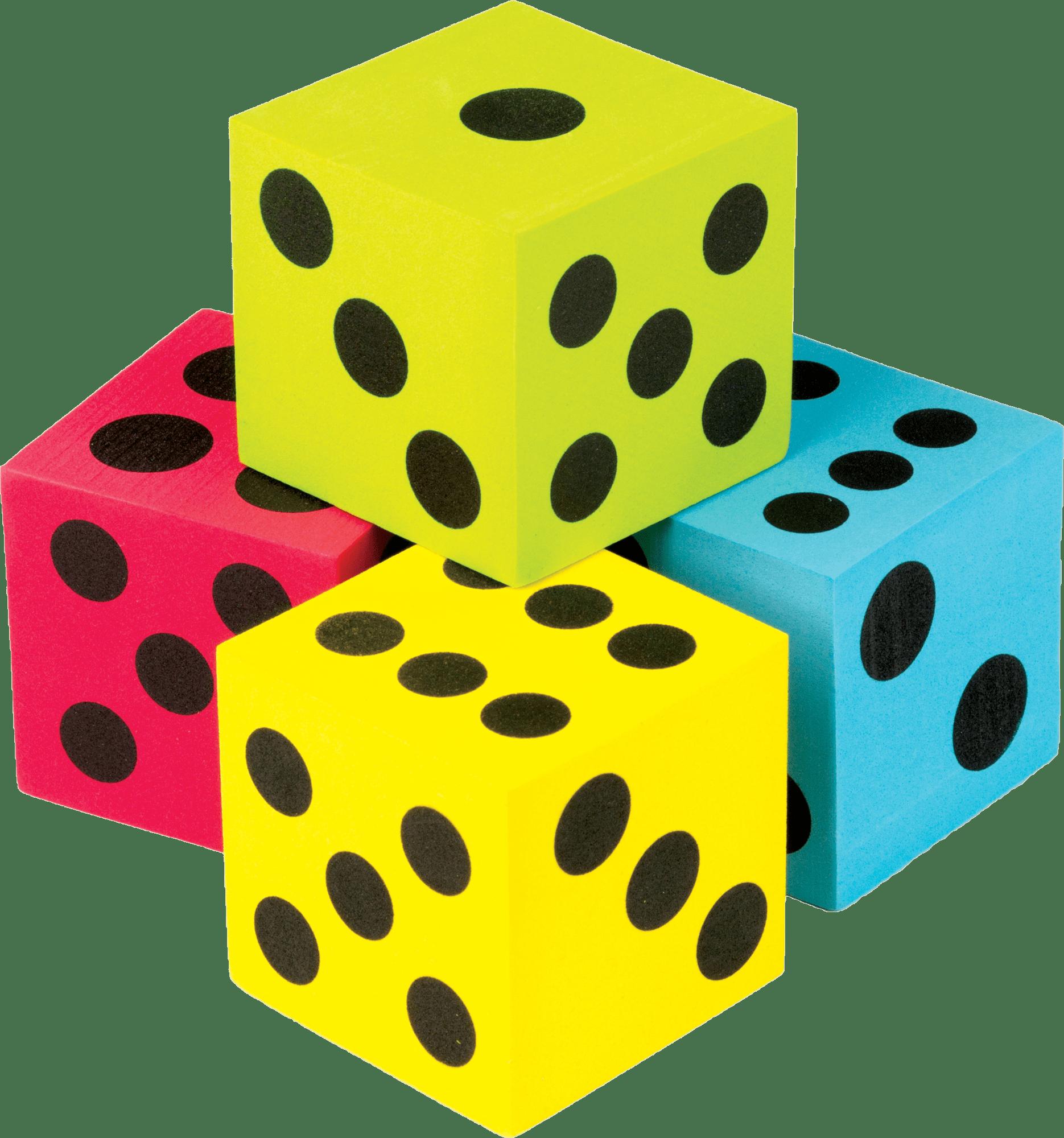Colorful Jumbo Dice 4 Pack
