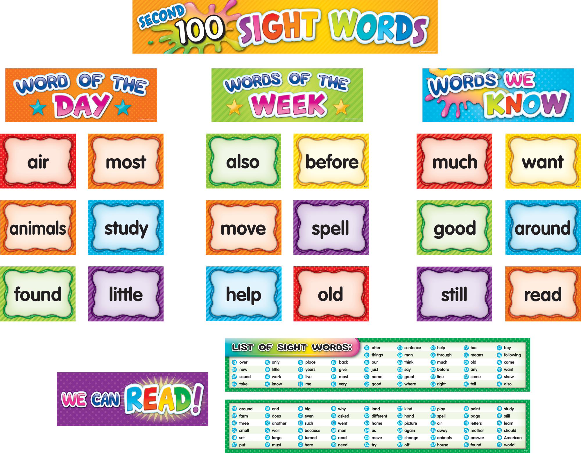 Second 100 Sight Words Pocket Chart Cards