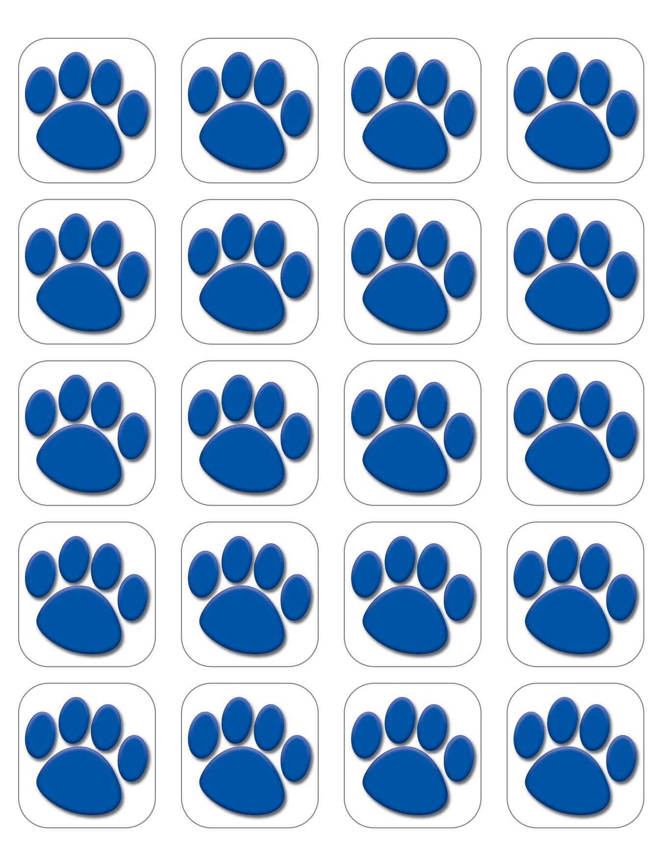 Blue Paw Prints Stickers