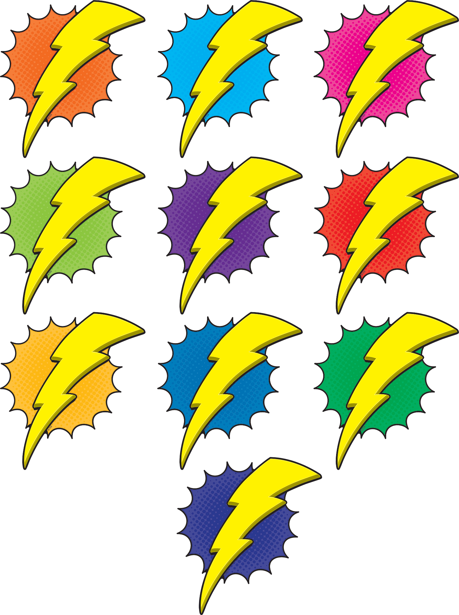 Superhero Lightning Bolts Accents TCR5842 Teacher Created Resources