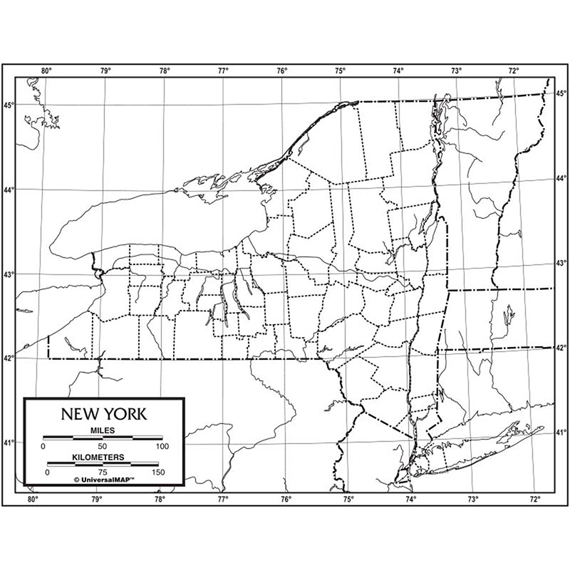 Outline Map Paper New York