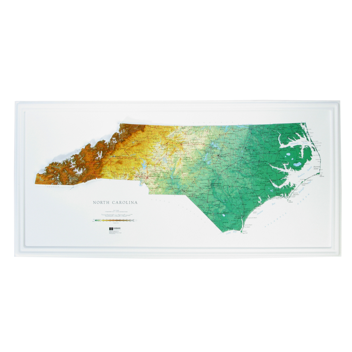 Hubbard Scientific Raised Relief Map North Carolina State