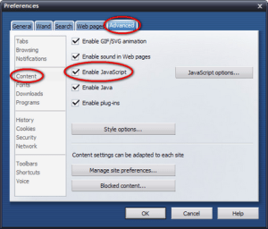 Disable Java script on Opera Browser