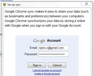 Login to google account to save chrome sync data