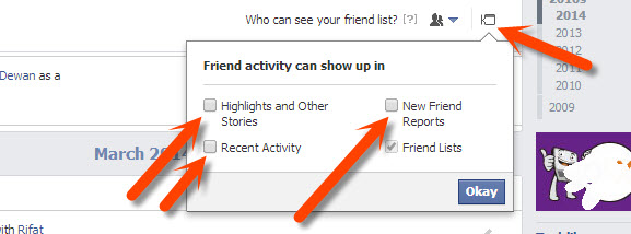 Disable friend activity showing up