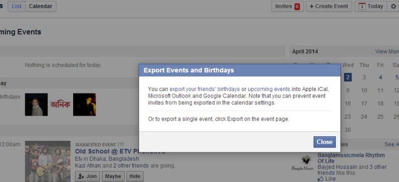 Export events popup
