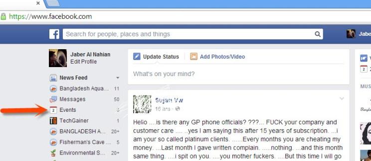 Facebook events chooser