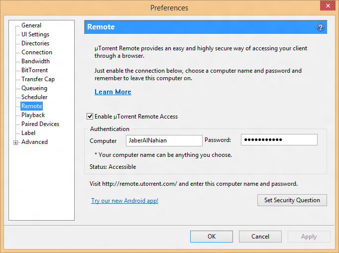 Enable uTorrent remote access