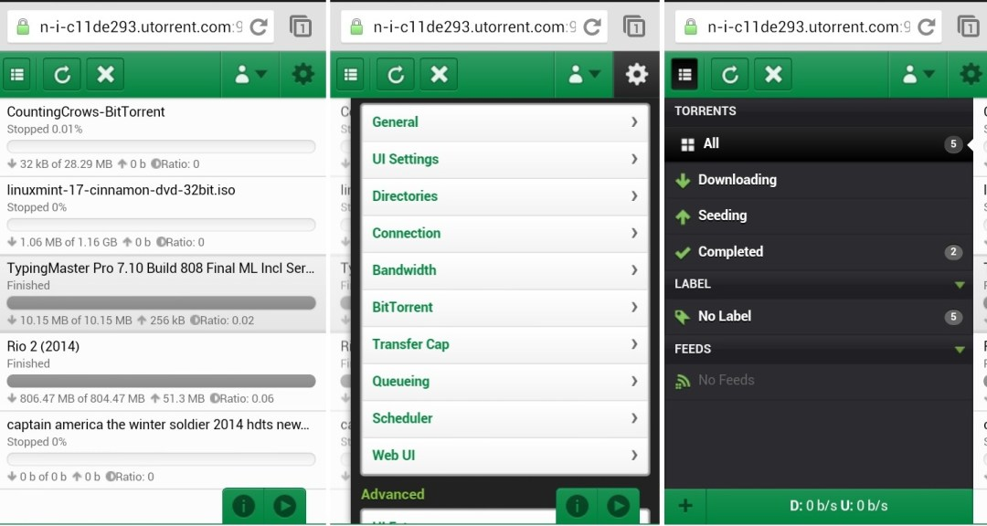 uTorrent remote web version on iPhone