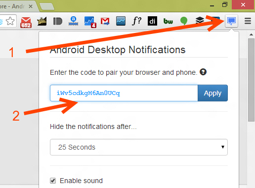 Configure Browser addon for Desktop notifications service