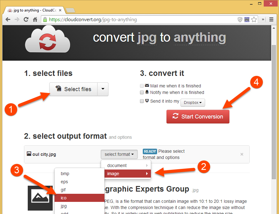 Using CloudConvert.org to convert images to icon