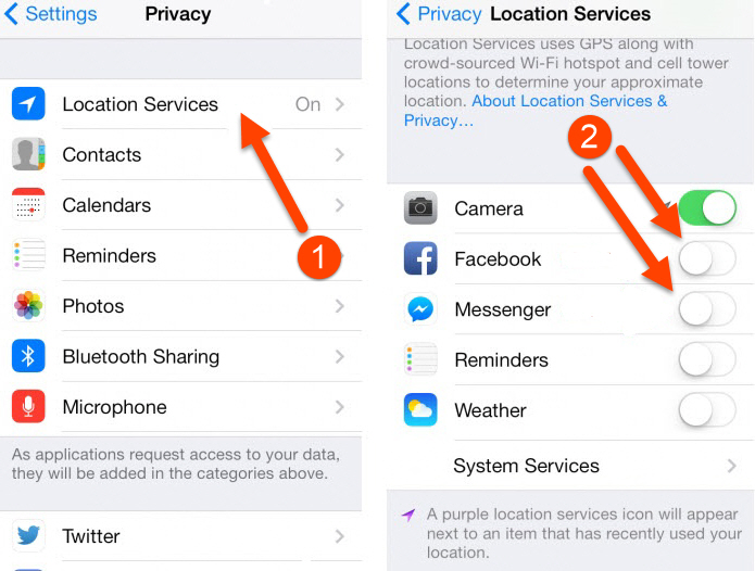 Disable Facebook location service on iOS