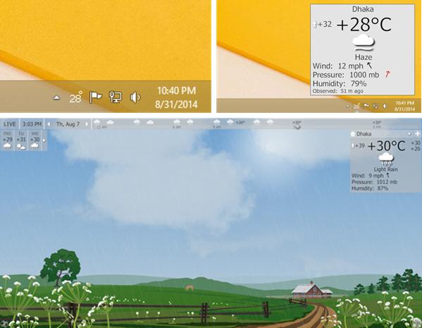 Display Weather on Desktop in Windows Taskbar and Screensaver using YoWindow