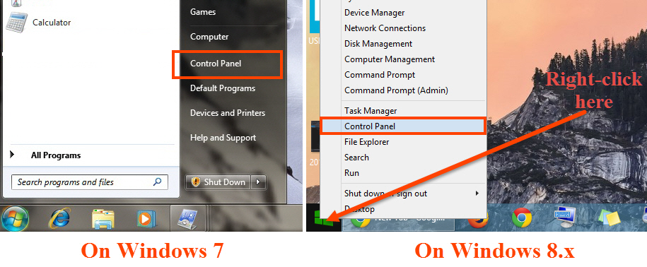 Access control panel in Windows 7 and 8