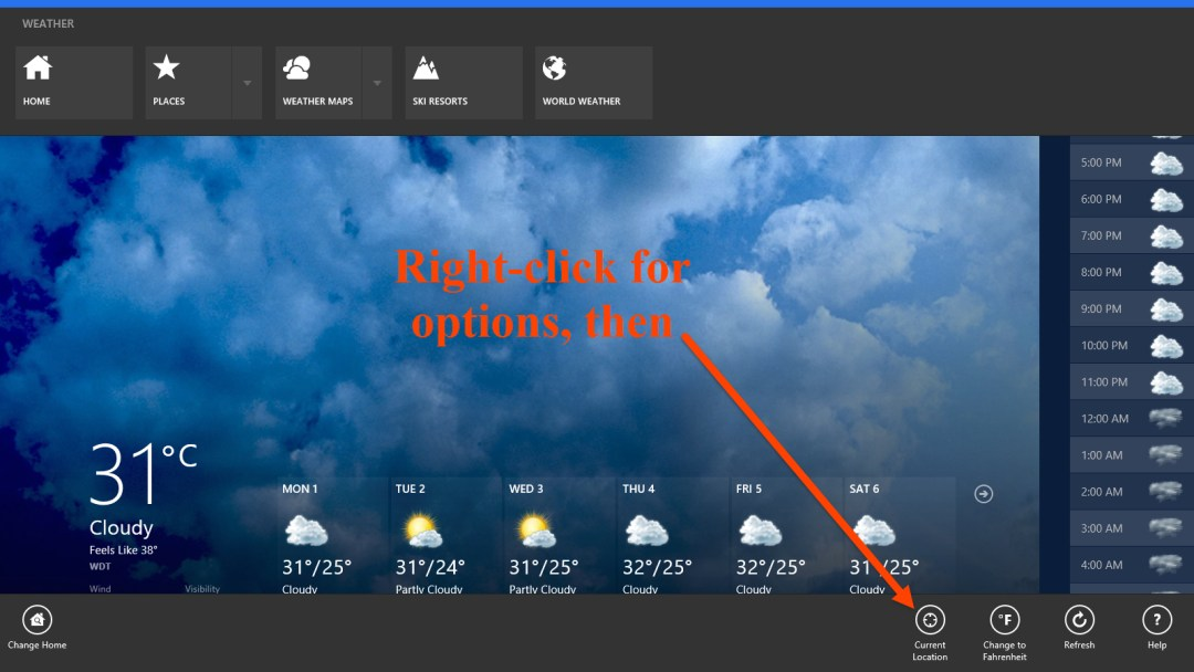 Change location in Bing Weather