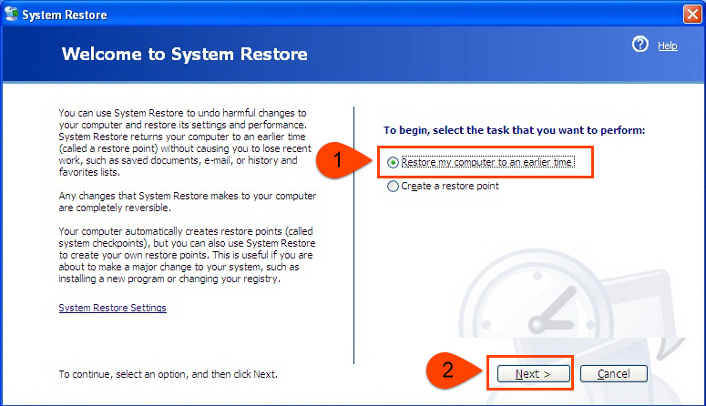 Restore XP to earlier state