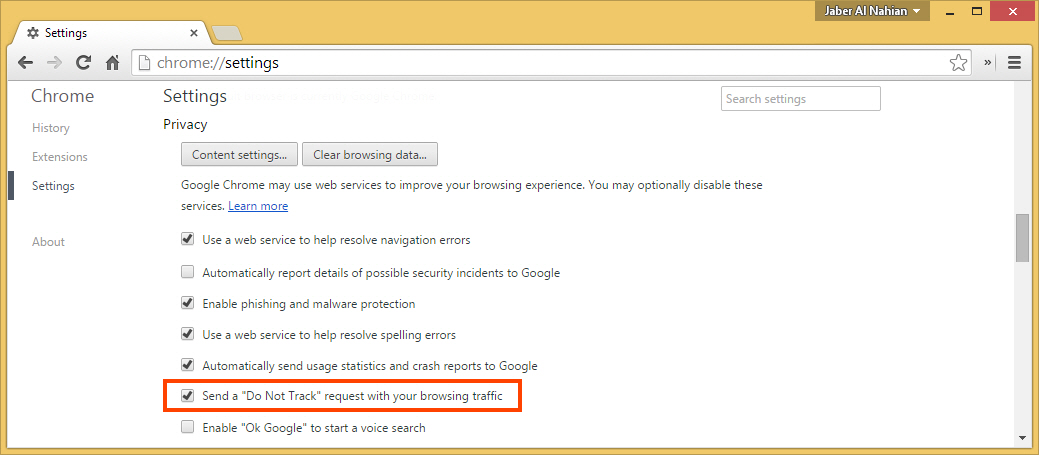 Send a Do Not Track request with Chrome