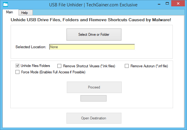 USB File Unhider Program Window Screenshot
