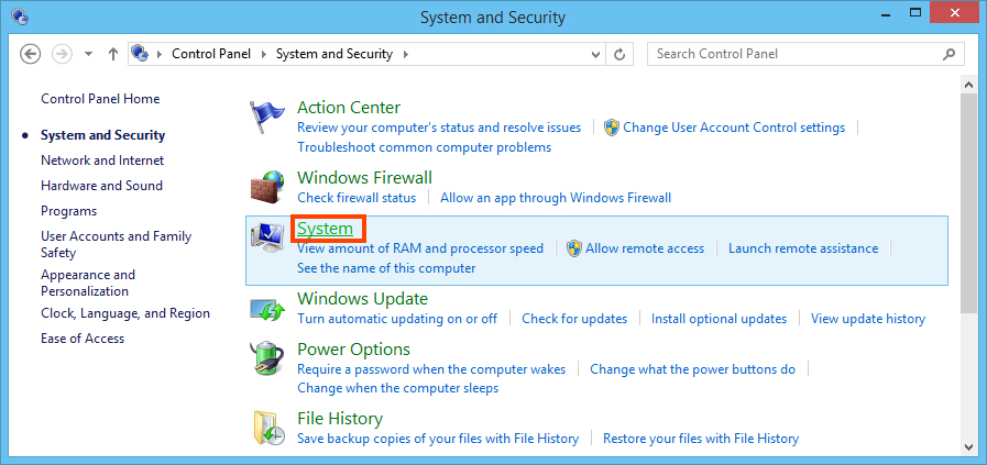 Windows system settings