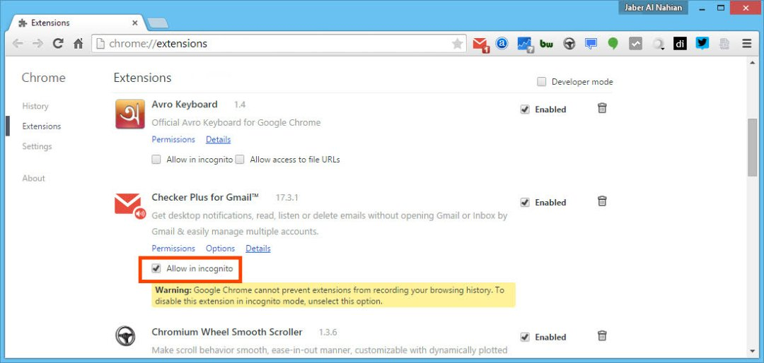 Enable and run a Chrome extension in incognito mode