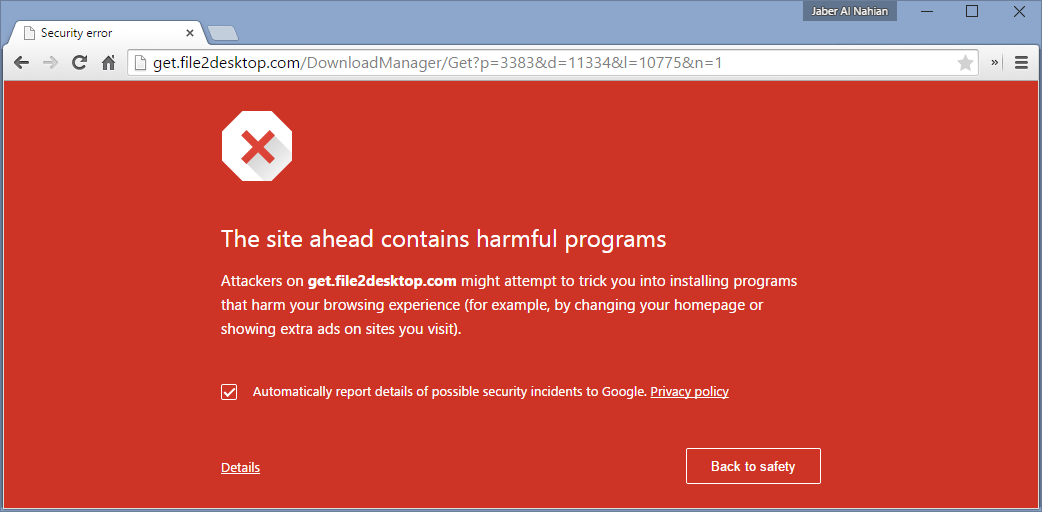 """The site ahead contains harmful programs"" warning in Chrome"