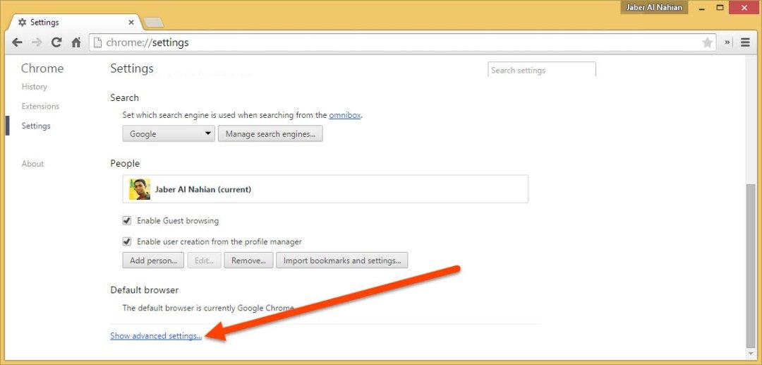 Show advanced settings on Chrome