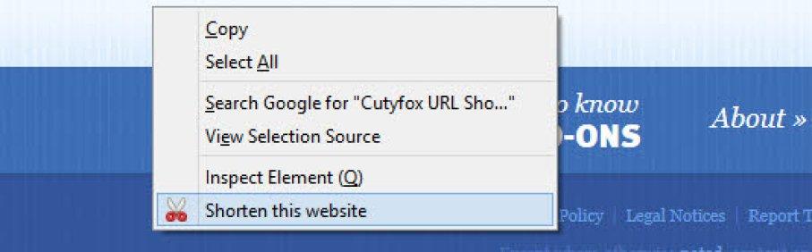 Cutyfox Context menu