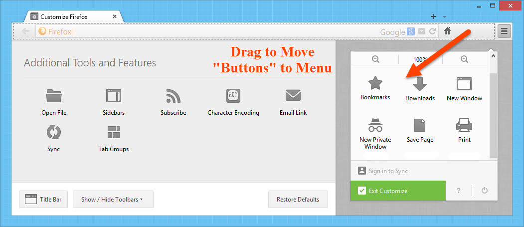 Move buttons to menu