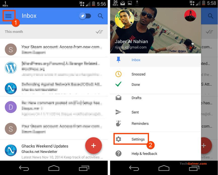 Inbox app settings