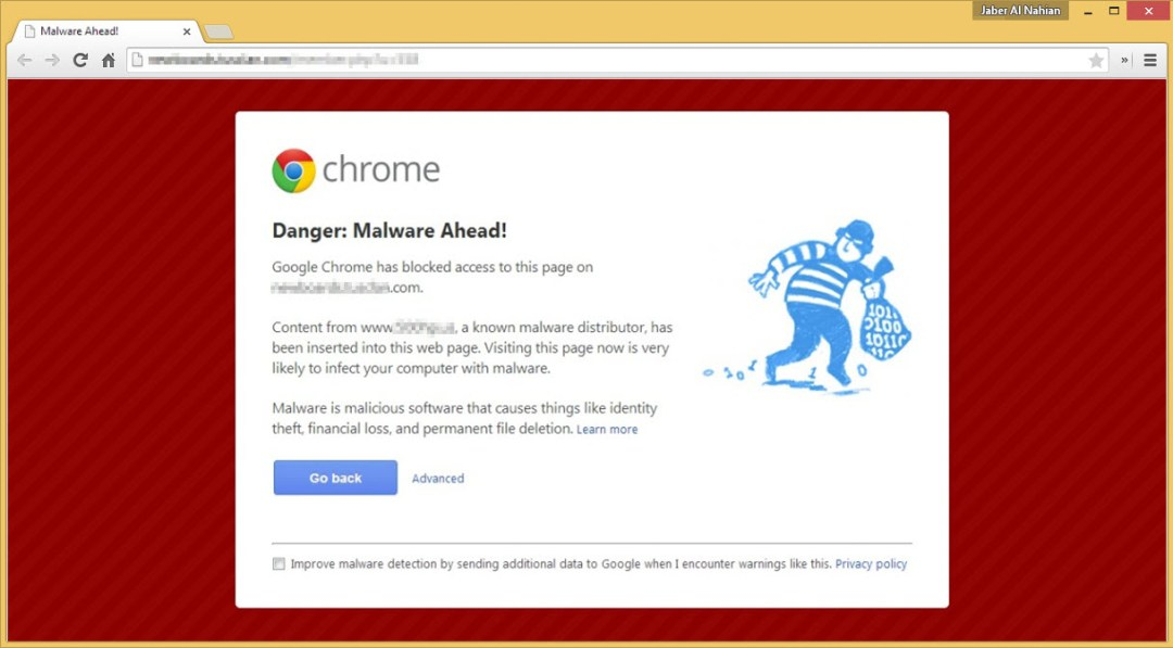 Malware website chrome warning