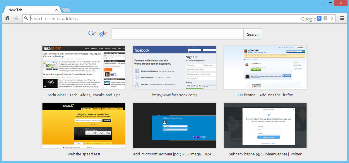 Set new tab as startup page