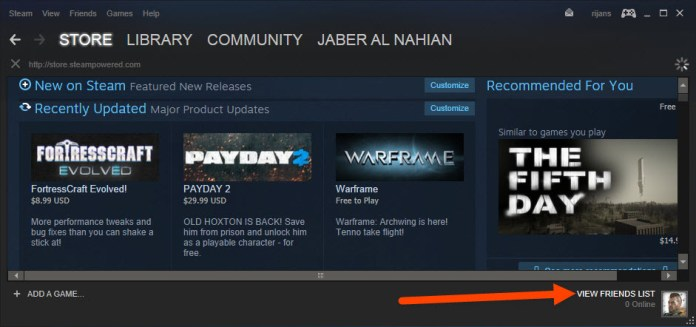 Click Friend Lists on Steam