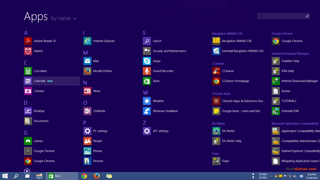 All apps Start screen on Windows 10