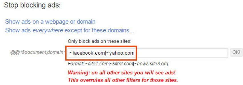 Disable ads for particular domains