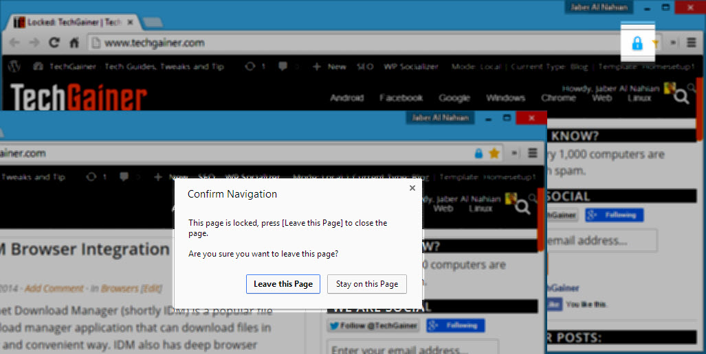 Confirmation prompt when leaving page