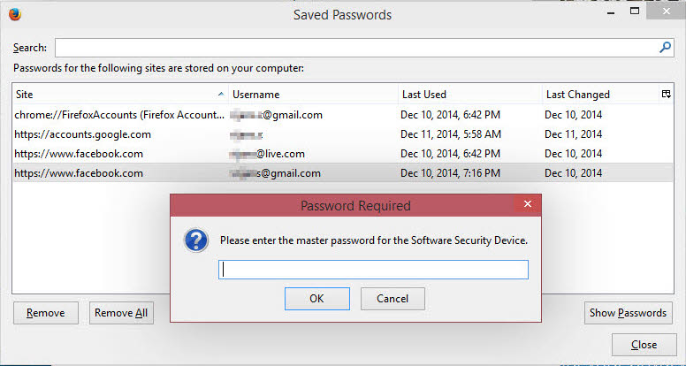 How to Lock Down Firefox Saved Passwords Viewer