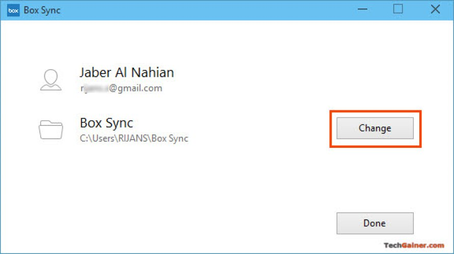 Change Sync Folder in Box