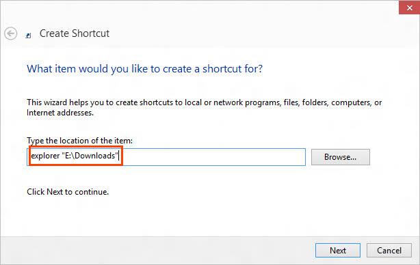 Type folder shortcut target