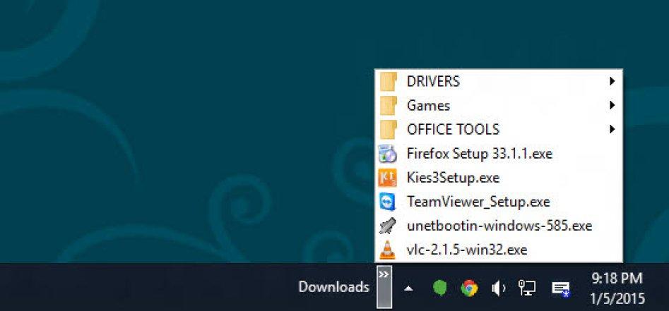 Access folder items from toolbar