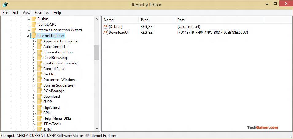 Internet Explorer settings in registry