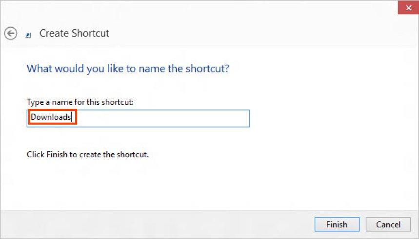 Set a name to shortcut