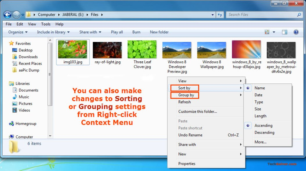 Change sorting and grouping view